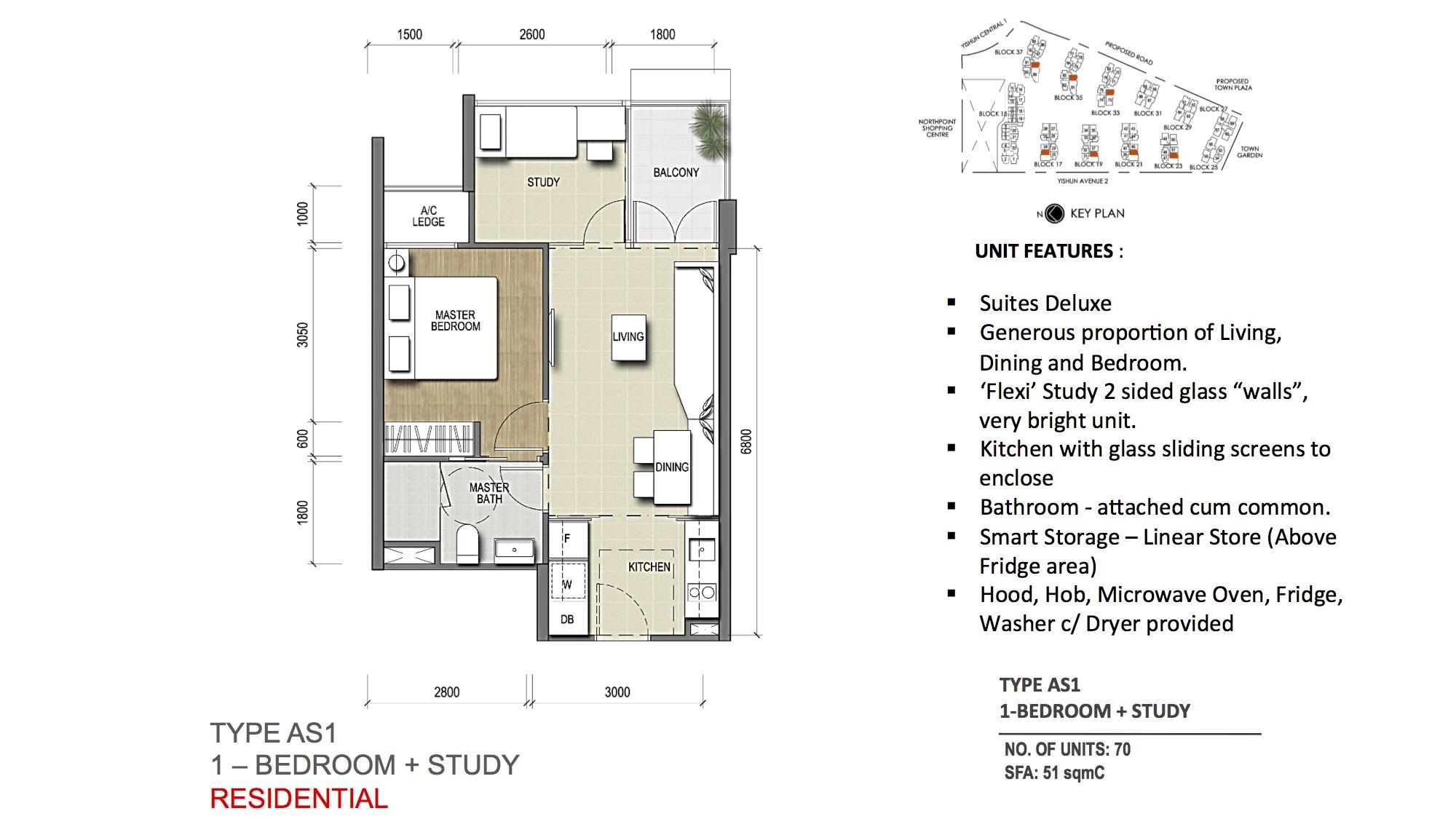 TYPE AS1 1-Bedroom + Study