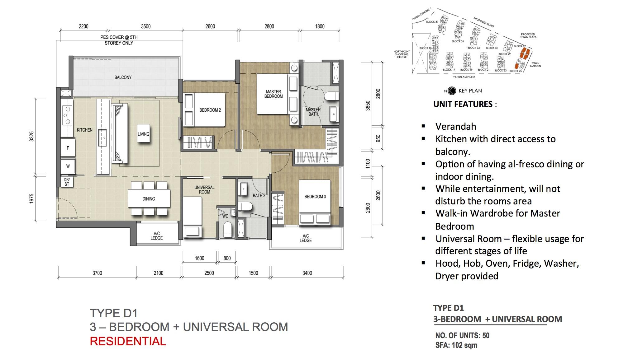 Type D1 - 3-Bedroom + Universal Room