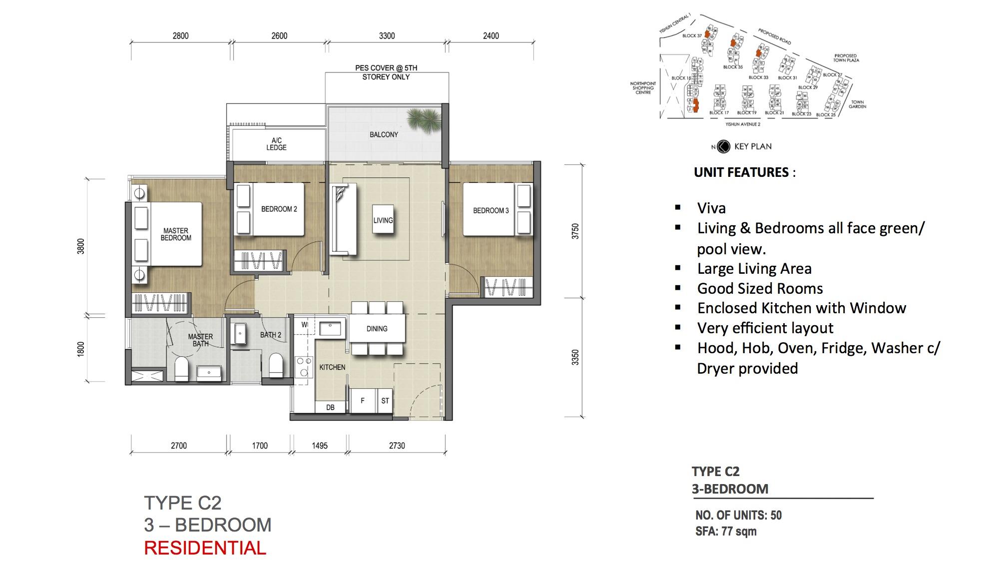 Type C2 - 3 Bedroom